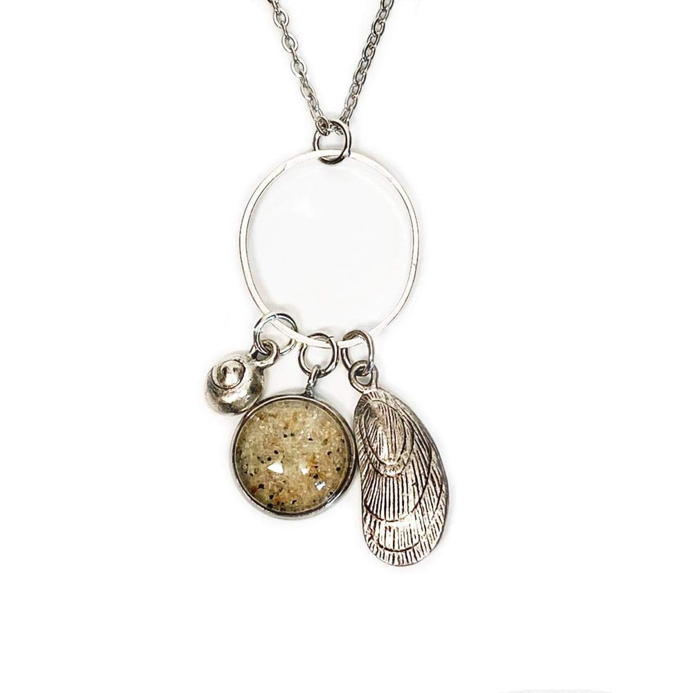 Beach Sand Mussel Charm Necklace