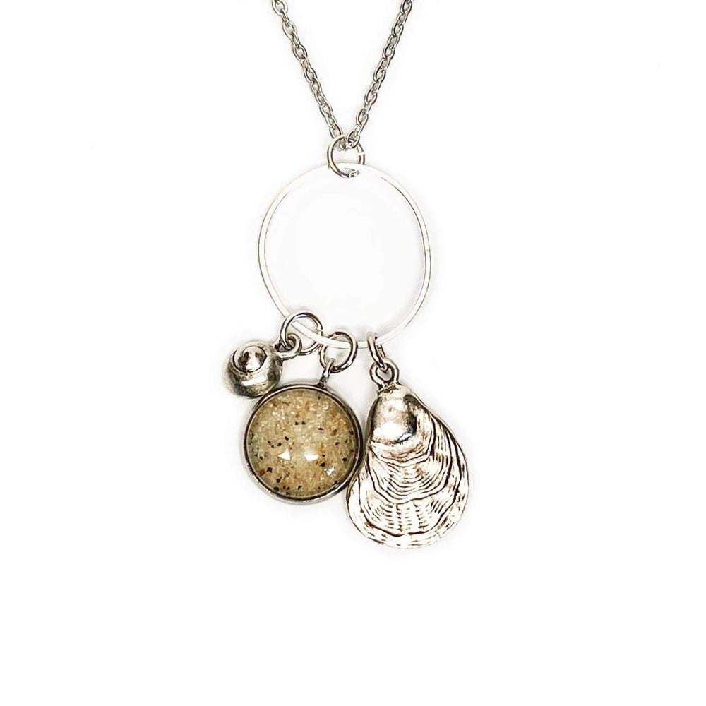 Beach Sand Oyster Charm Necklace