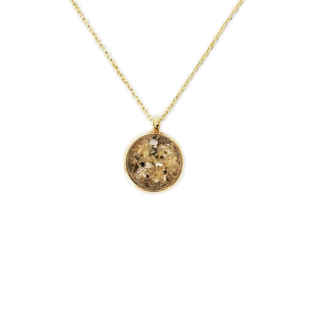 Beach Sand Small Round Necklace in Gold