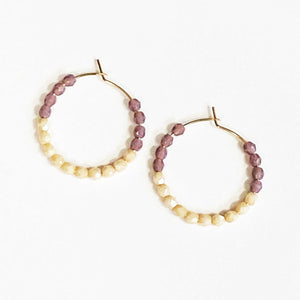 Beaded Hoop Earrings in Purple and Cream Beachdashery Jewelry