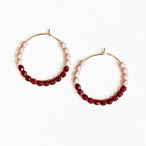 Beaded Hoop Earrings in Purple and Crimson Beachdashery Jewelry