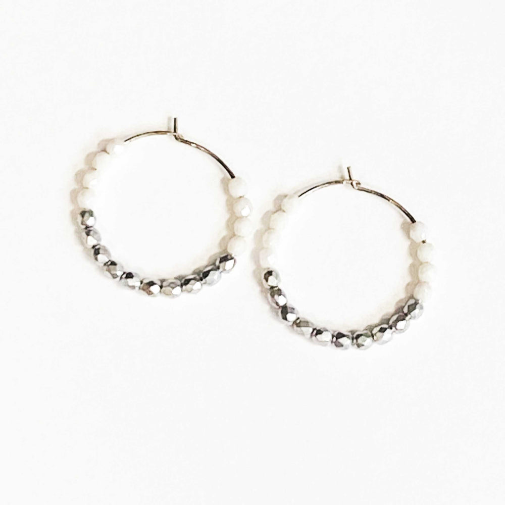 Beaded Hoop Earrings in White and Silver Beachdashery Jewelry