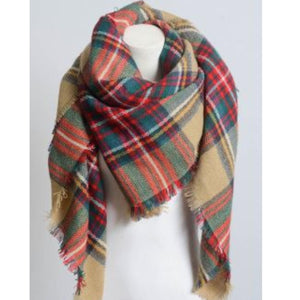 Blanket Plaid Scarf in Khaki Beachdashery Jewelry