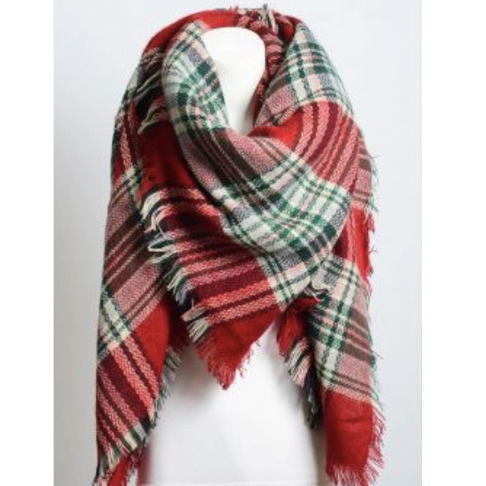 Blanket Plaid Scarf in Red Green Beachdashery Jewelry