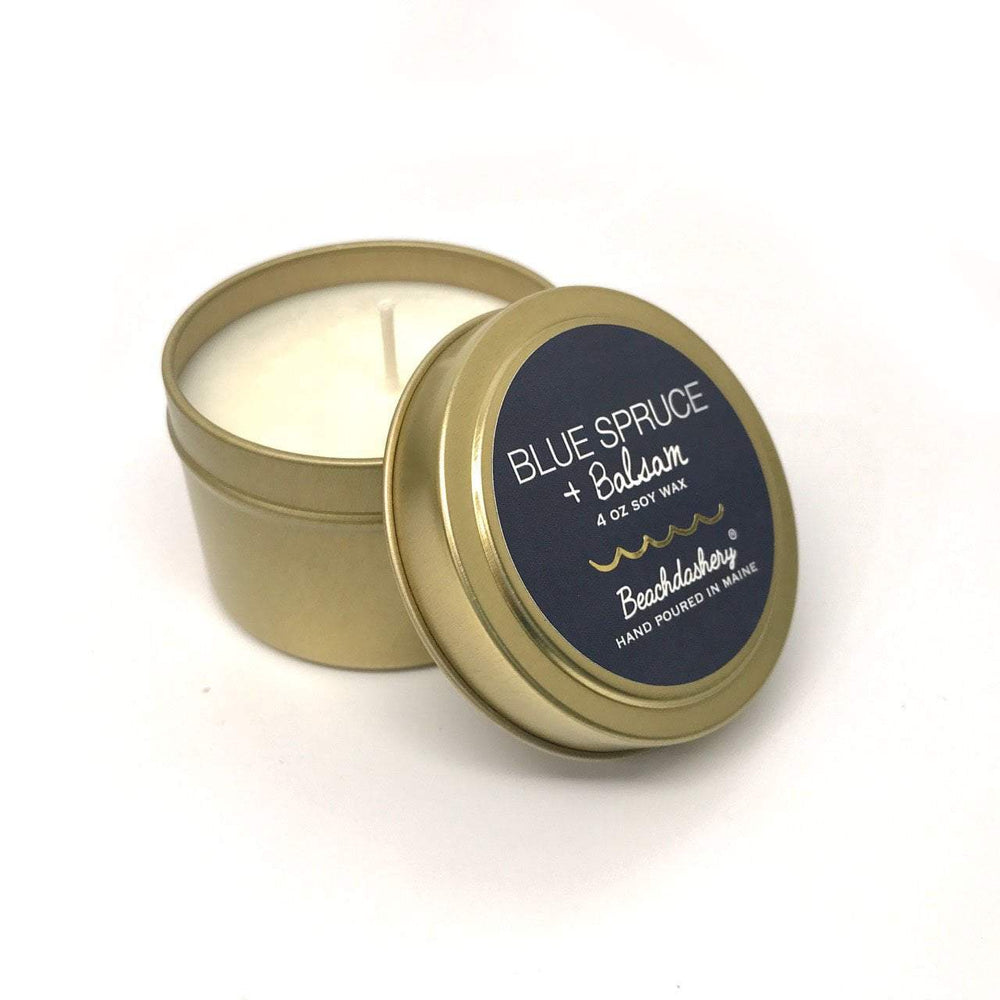 Blue Spruce and Balsam Soy Candle - 4oz Gold Tin Beachdashery® Jewelry