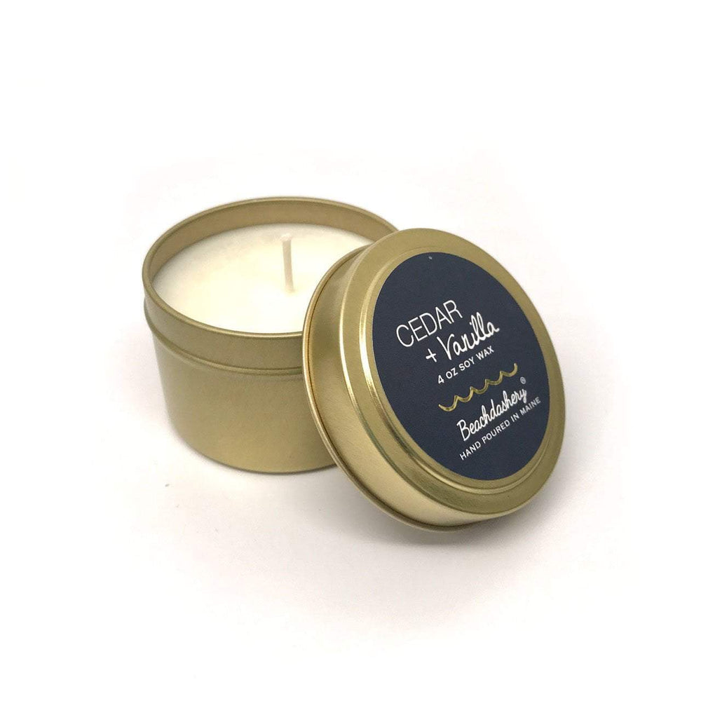 Cedar and Vanilla Soy Candle - 4oz Gold Tin Beachdashery® Jewelry