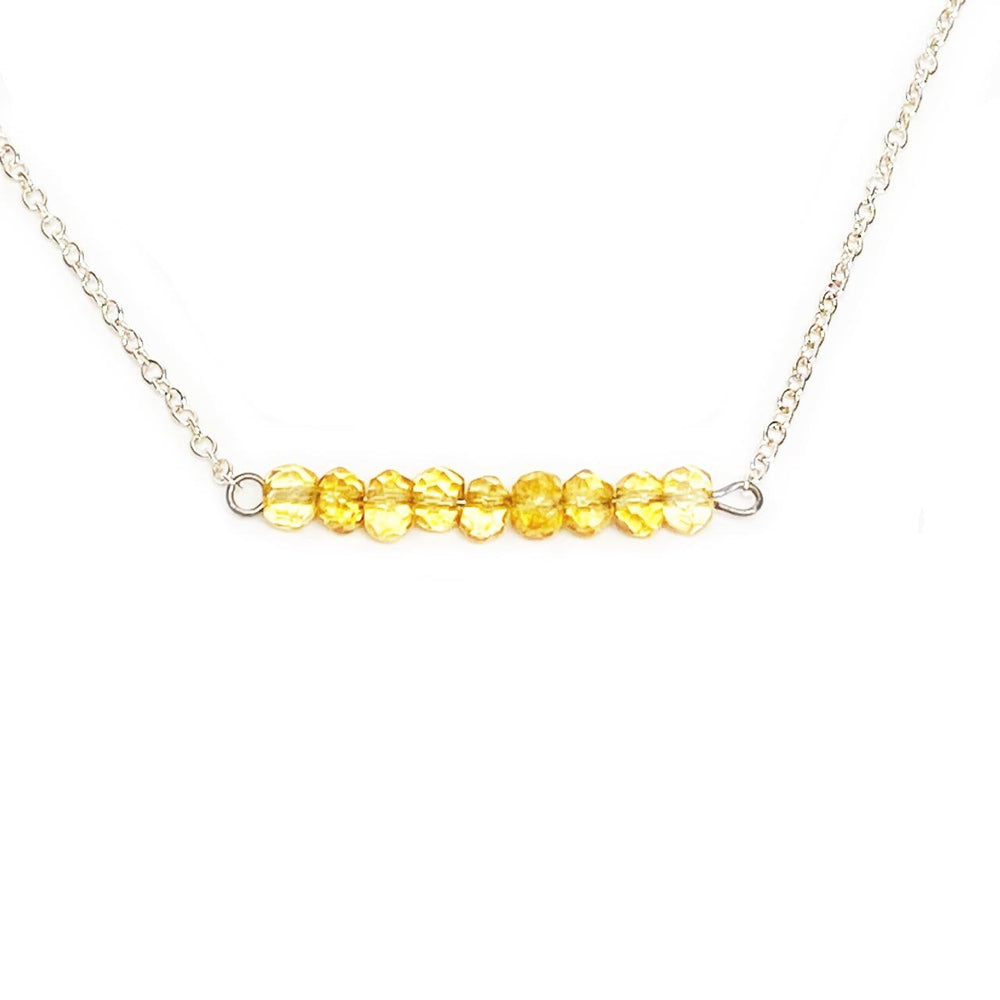 Citrine Gemstone Bar Necklace