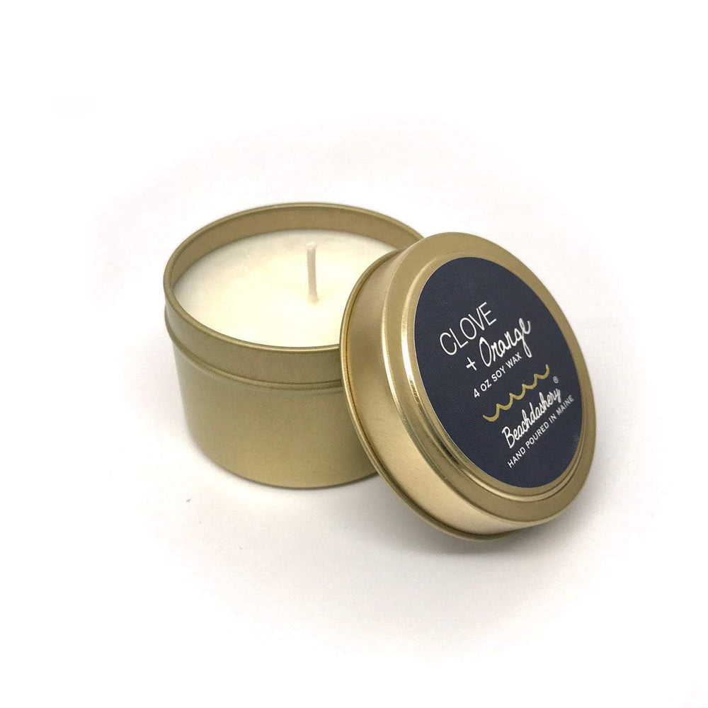 Clove and Orange Soy Candle - 4oz Gold Tin Beachdashery® Jewelry