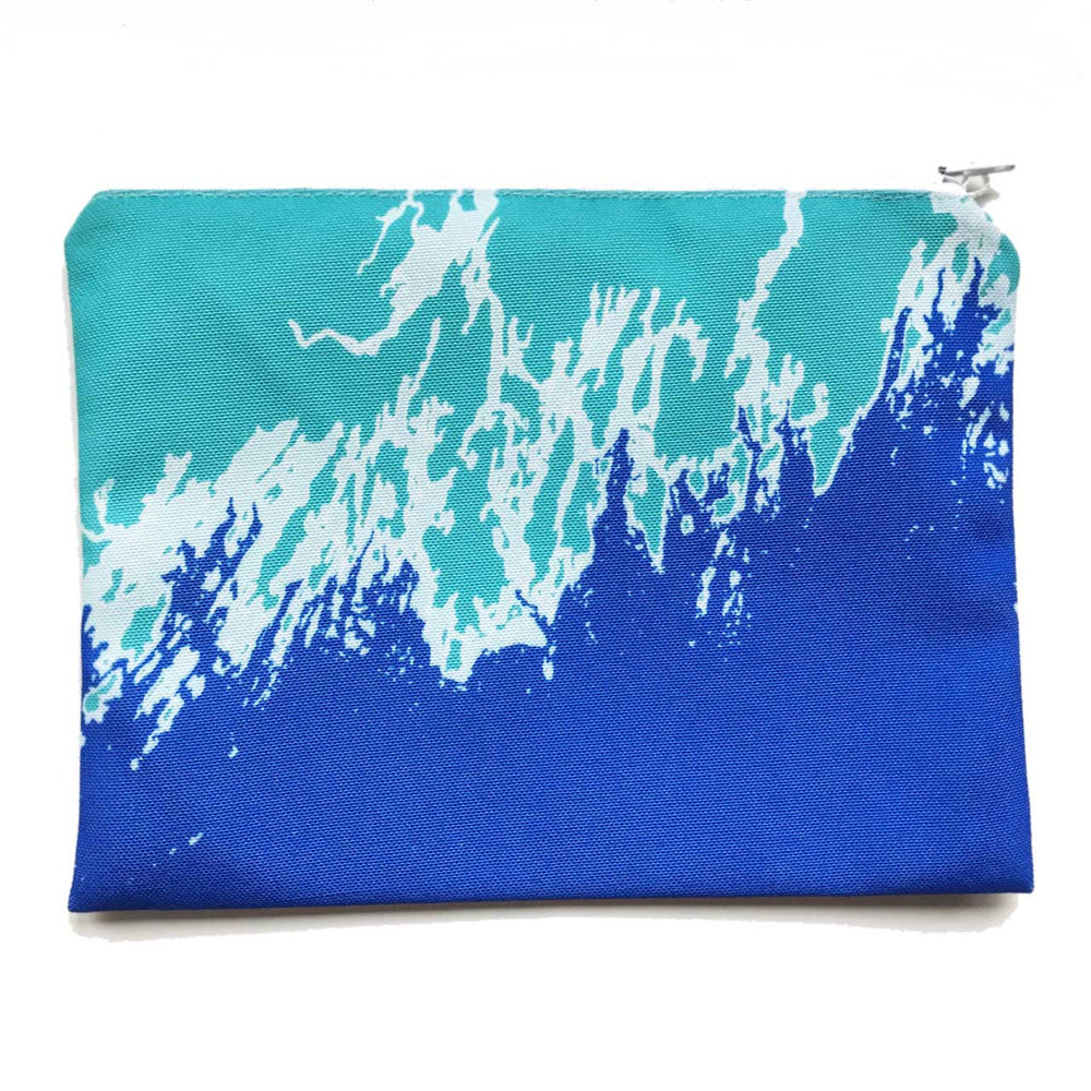 Coastline Maine Coast Zippered Pouch in Aqua Blue
