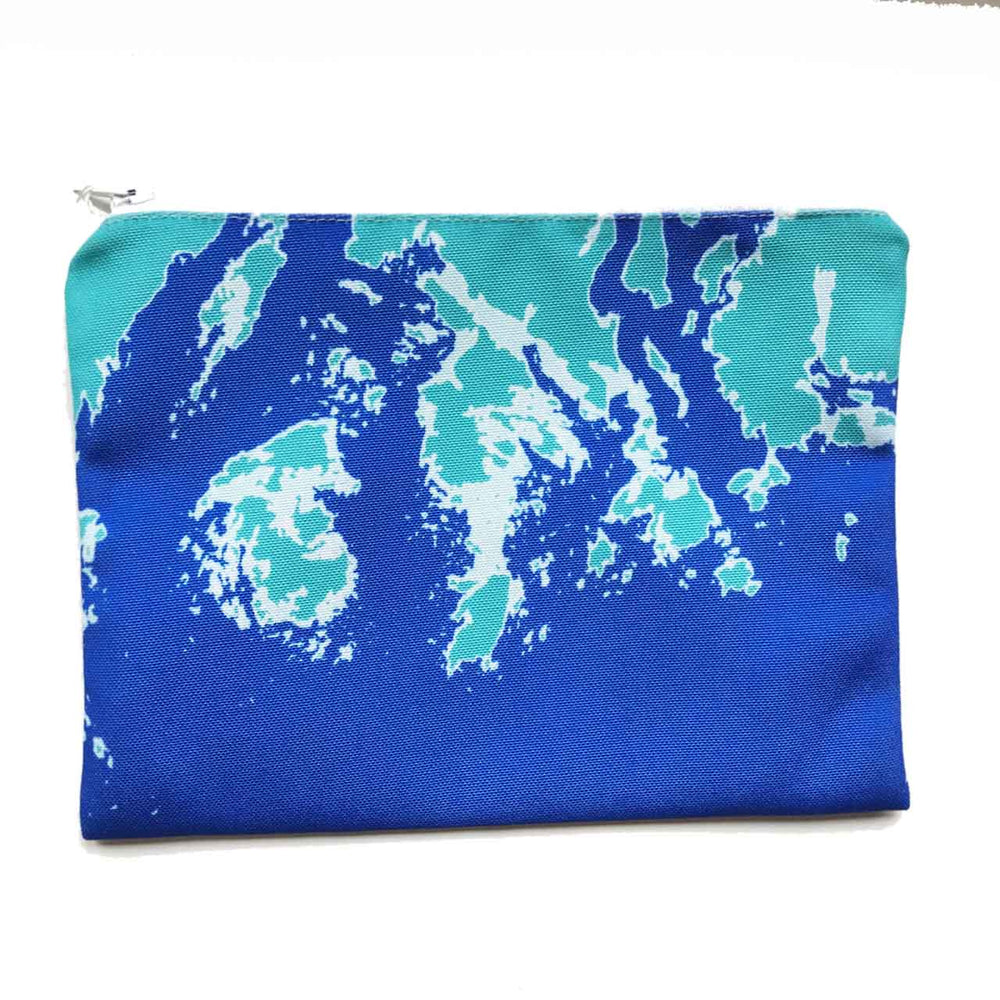 Coastline Maine Coast Zippered Pouch in Aqua Blue Beachdashery® Jewelry