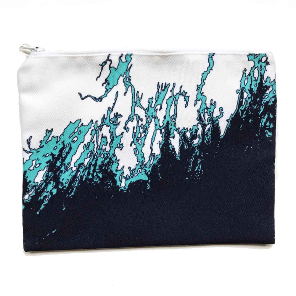 Coastline Maine Coast Zippered Pouch in Aqua Navy