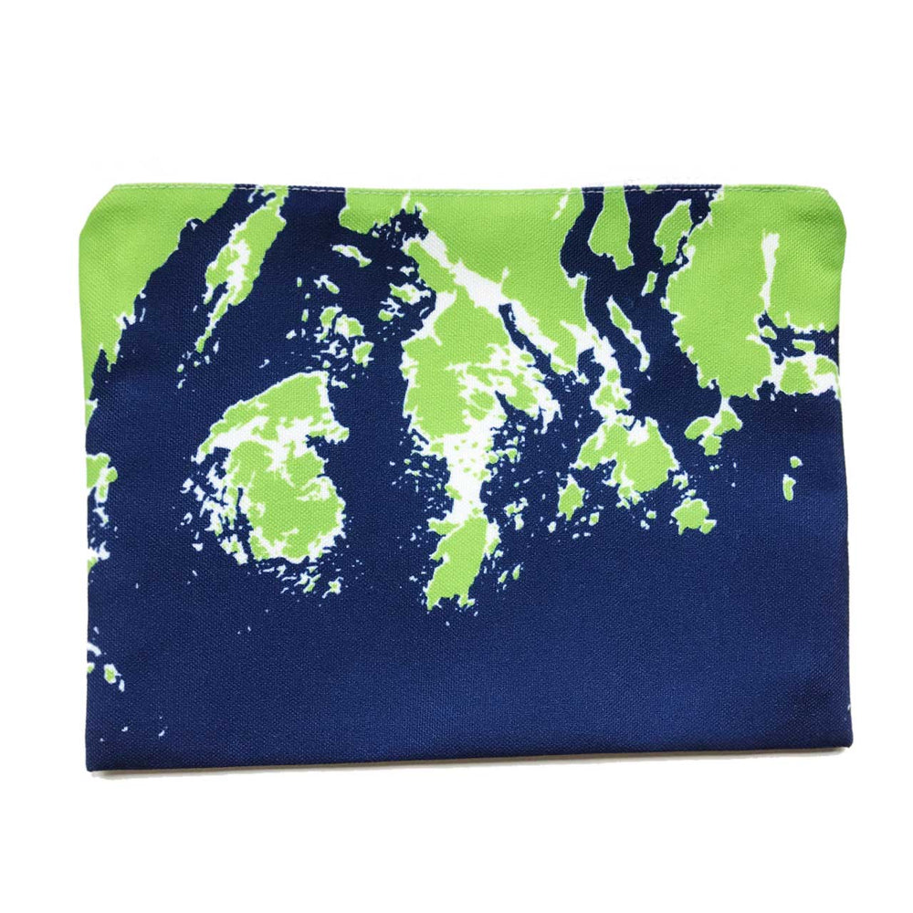 Coastline Maine Coast Zippered Pouch in Green Navy Beachdashery® Jewelry