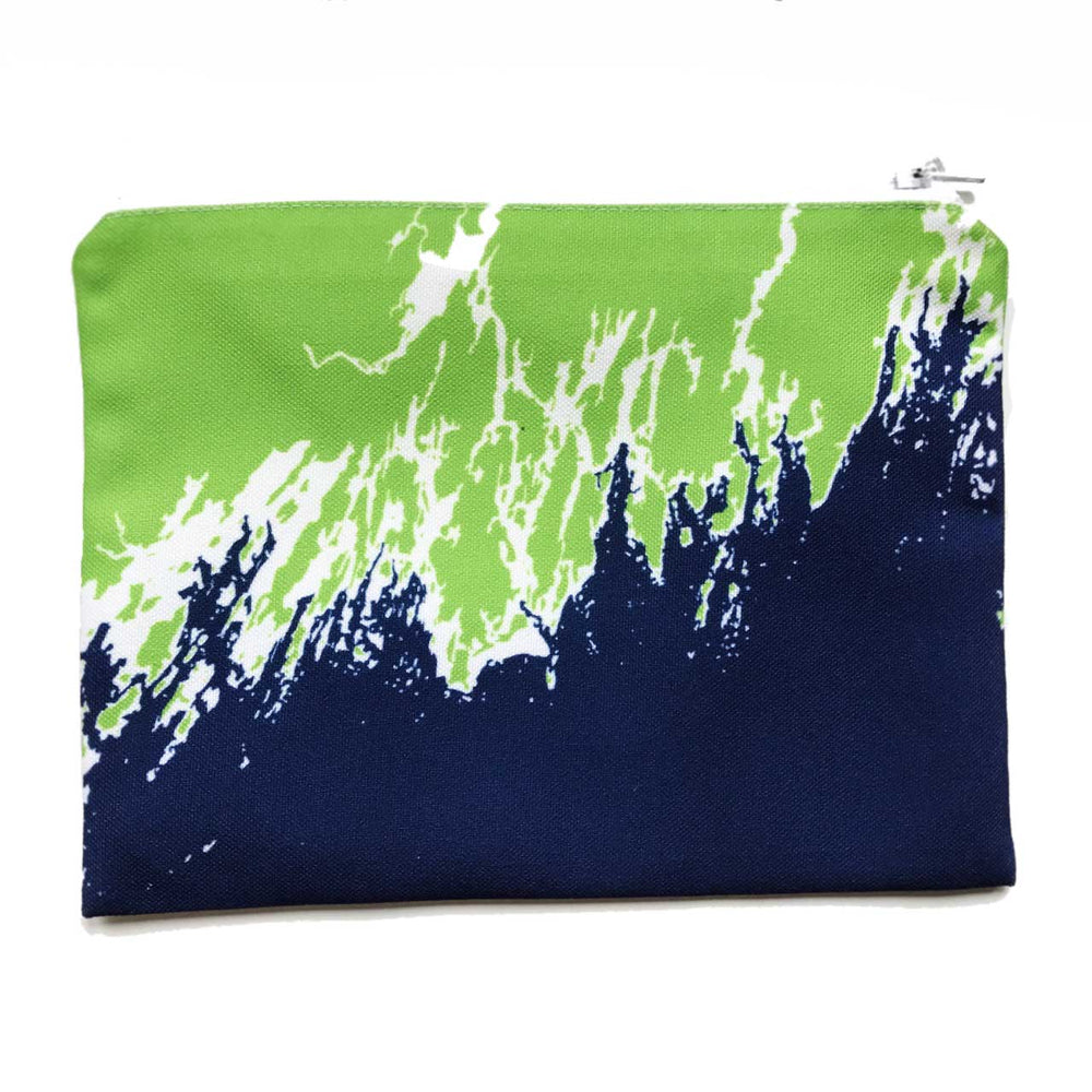 Coastline Maine Coast Zippered Pouch in Green Navy