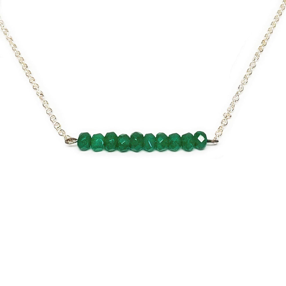 Emerald Gemstone Bar Necklace