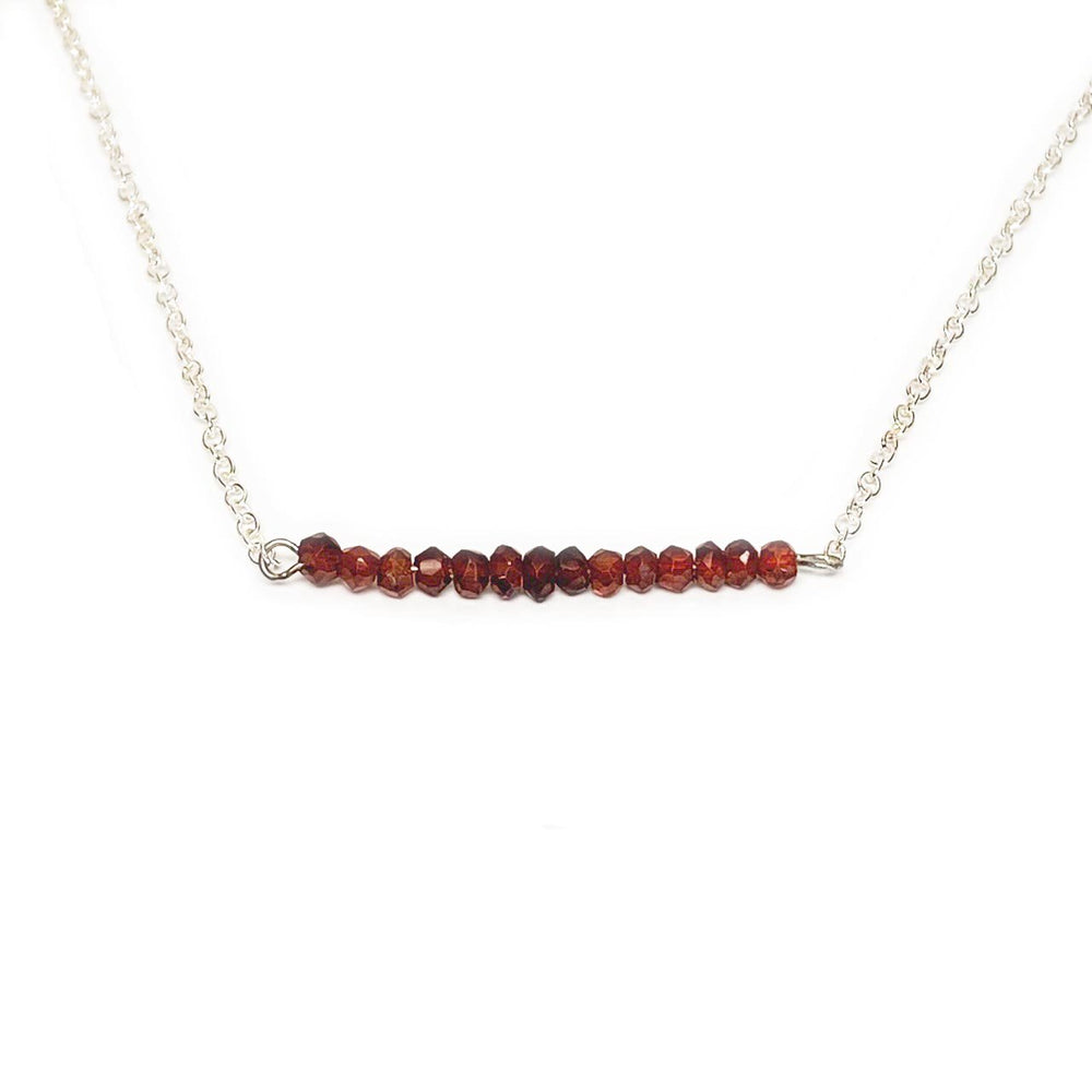 Garnet Gemstone Bar Necklace