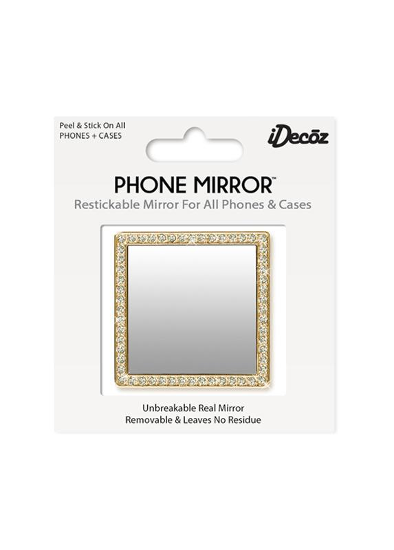 Gold Square with Crystals Phone Mirror Beachdashery® Jewelry