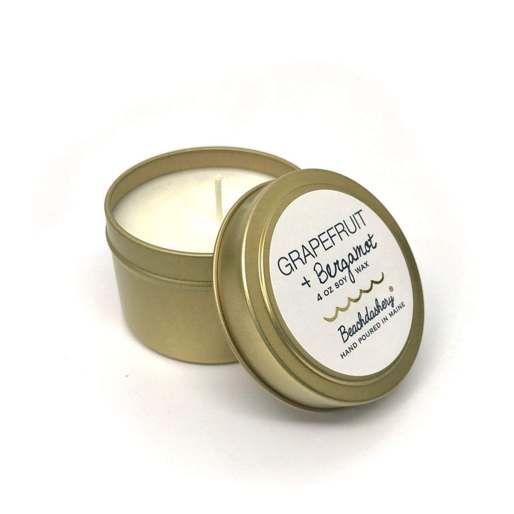 Grapefruit and Bergamot Soy Candle - 4oz Gold Tin Beachdashery® Jewelry