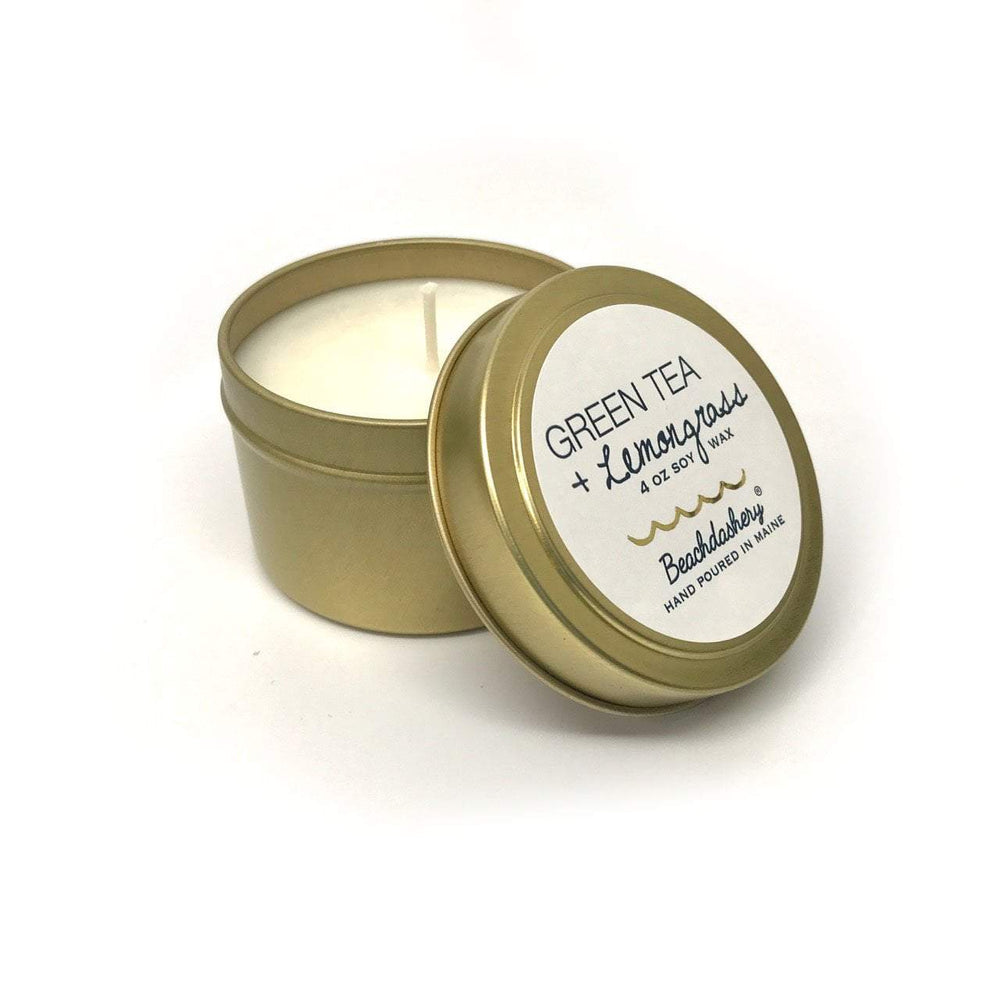 Green Tea and Lemongrass Soy Candle - 4oz Gold Tin Beachdashery® Jewelry