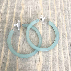 Load image into Gallery viewer, Leetie Lovendale Hoop Earrings in Mint Beachdashery® Jewelry