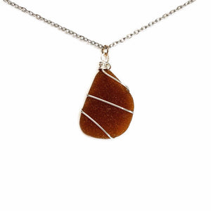 Maine Sea Glass Necklace in Brown Beachdashery Jewelry