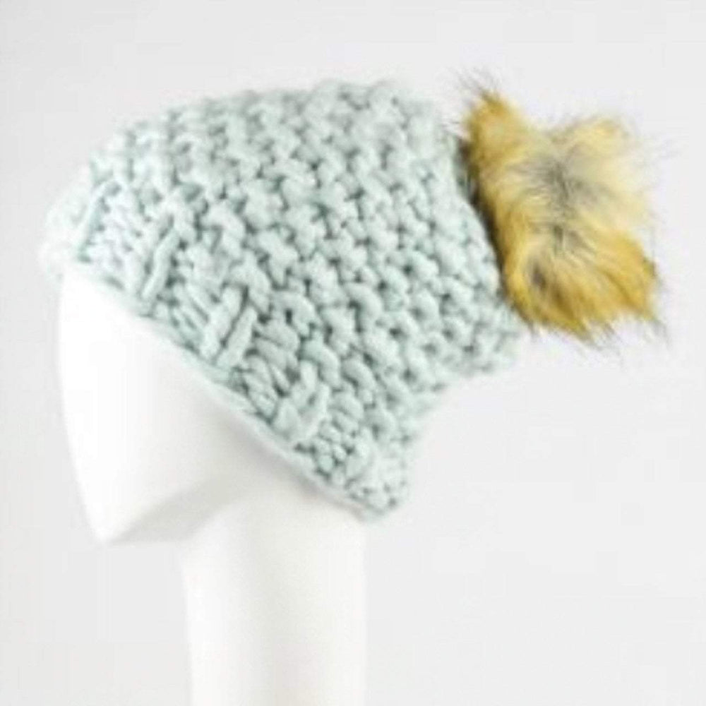 Load image into Gallery viewer, Oversized Chunky Pom Beanie in Blue Beachdashery Jewelry