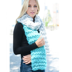 Load image into Gallery viewer, Oversized Knit Scarf in Charcoal Powder Blue Beachdashery Jewelry