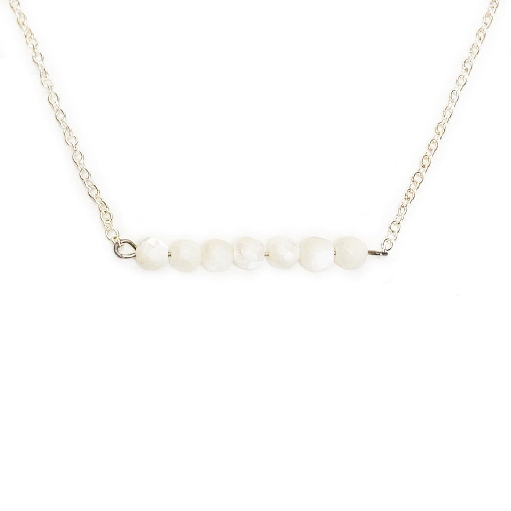 Pearl Gemstone Bar Necklace