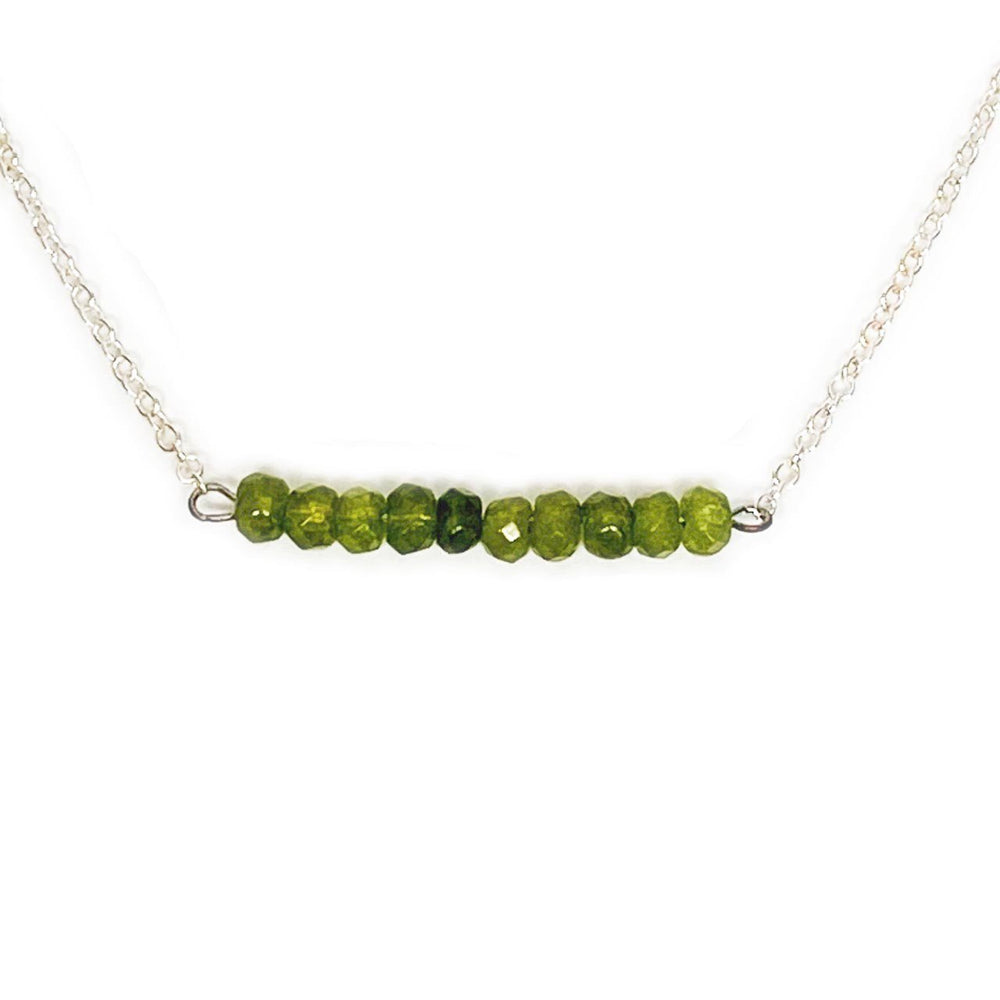 Peridot Gemstone Bar Necklace