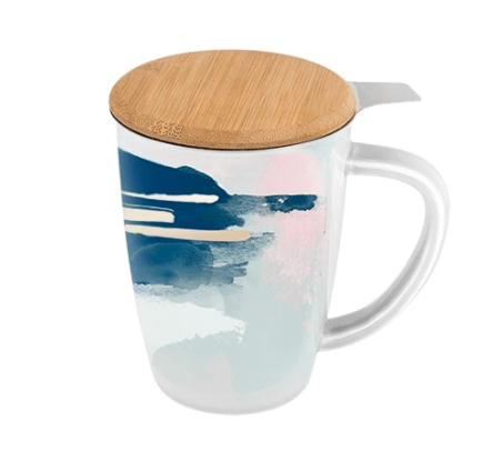 Pinky Up Tea Infuser Mug in Blue and Pink