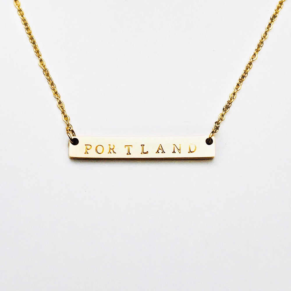 Portland Maine Bar Necklace in Gold