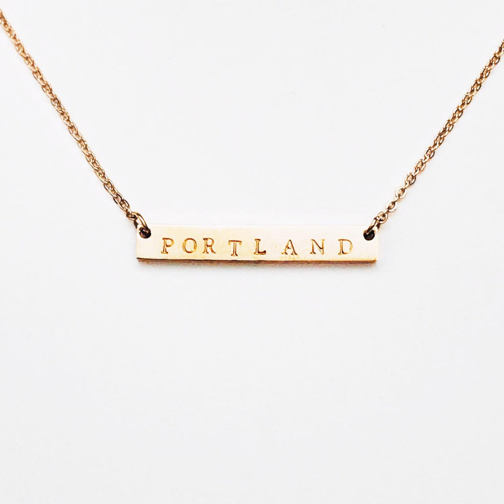 Portland Maine Bar Necklace in Rose Gold