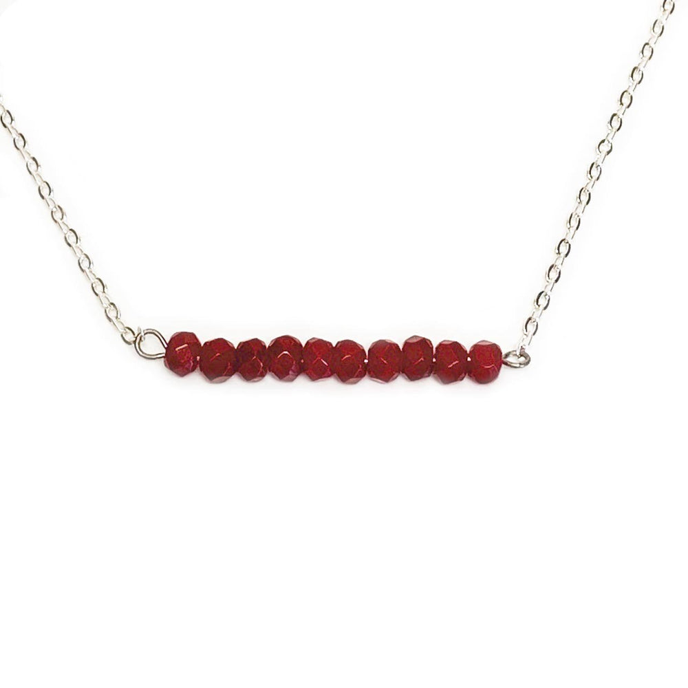Ruby Gemstone Bar Necklace