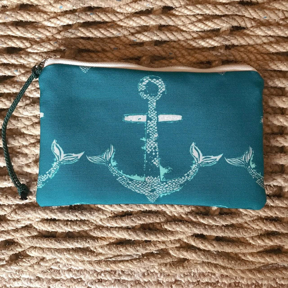 Sea Crow Co. Wristlet in Teal Anchor
