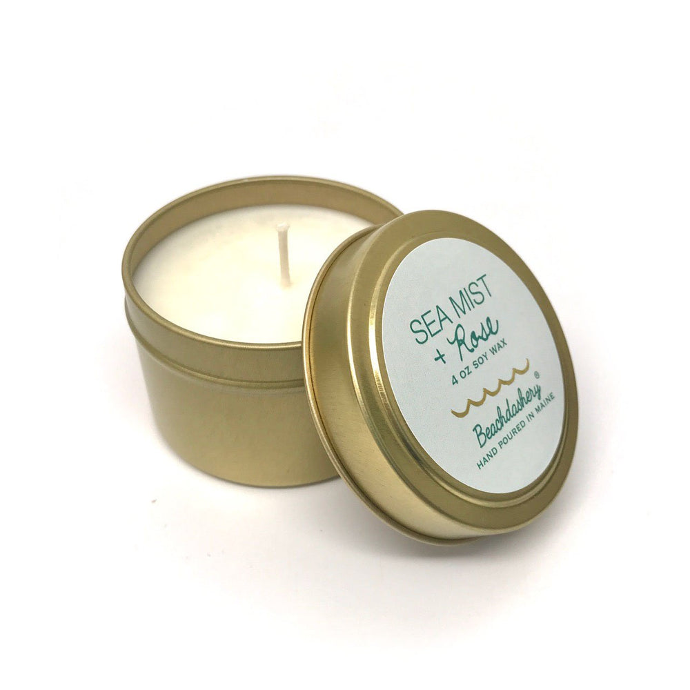 Sea Mist and Rose Soy Candle - 4oz Gold Tin