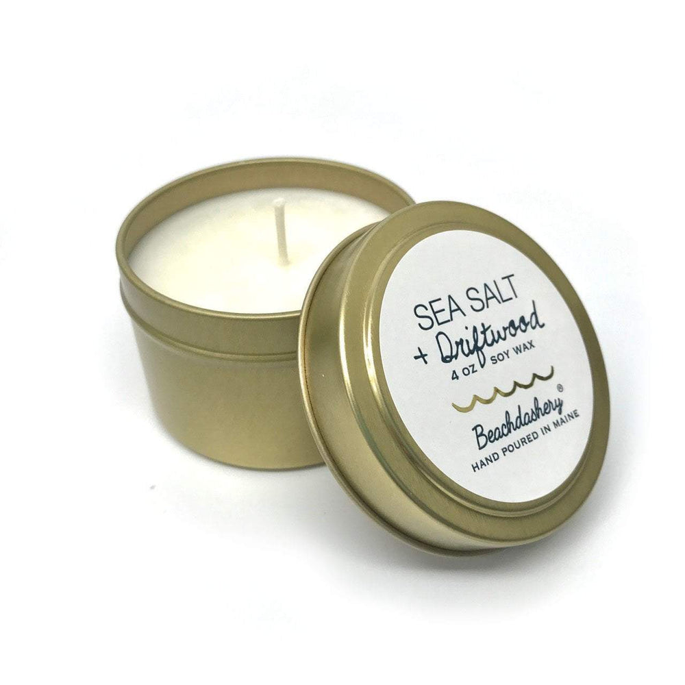 Sea Salt and Driftwood Soy Candle - 4oz Gold Tin