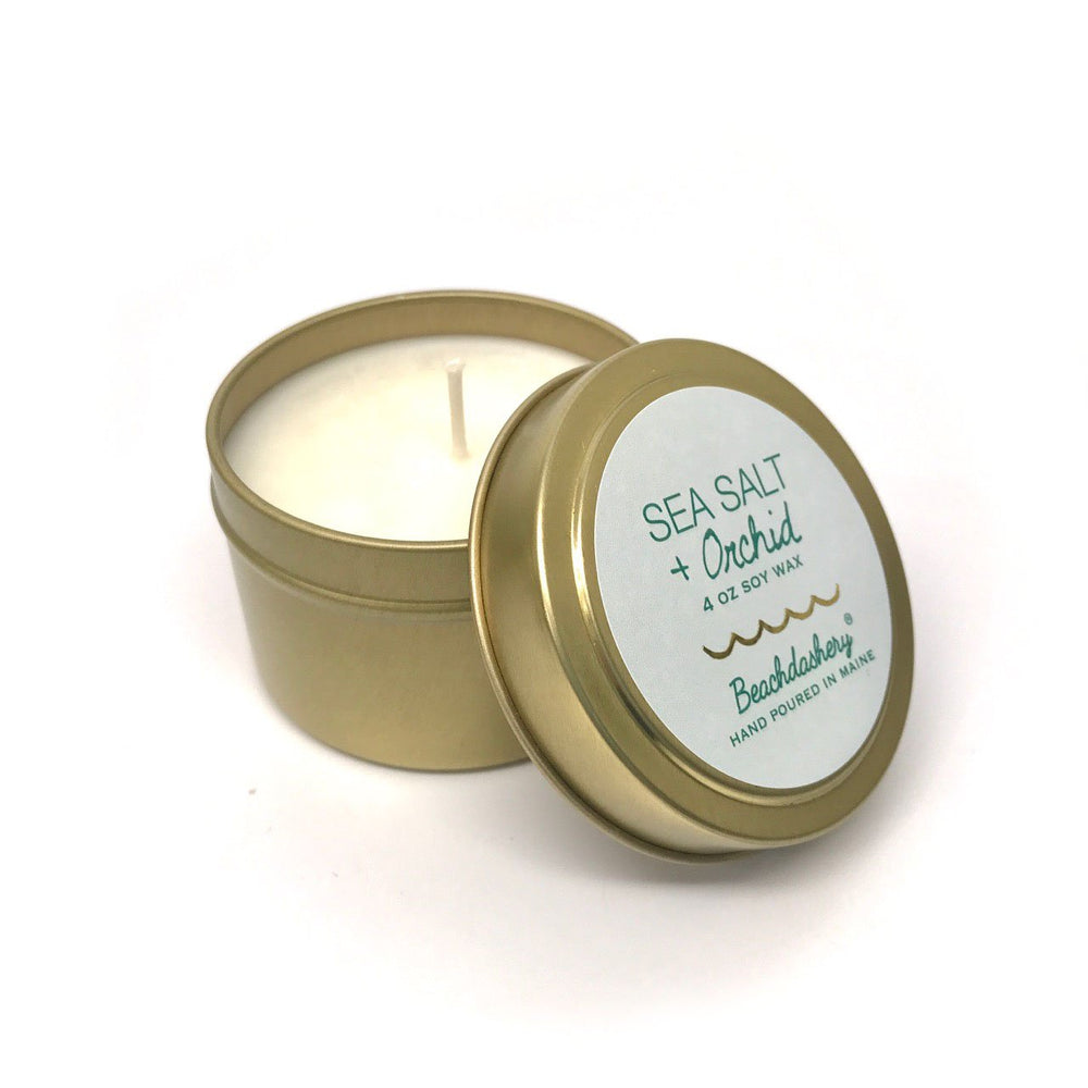 Sea Salt and Orchid Soy Candle - 4oz Gold Tin