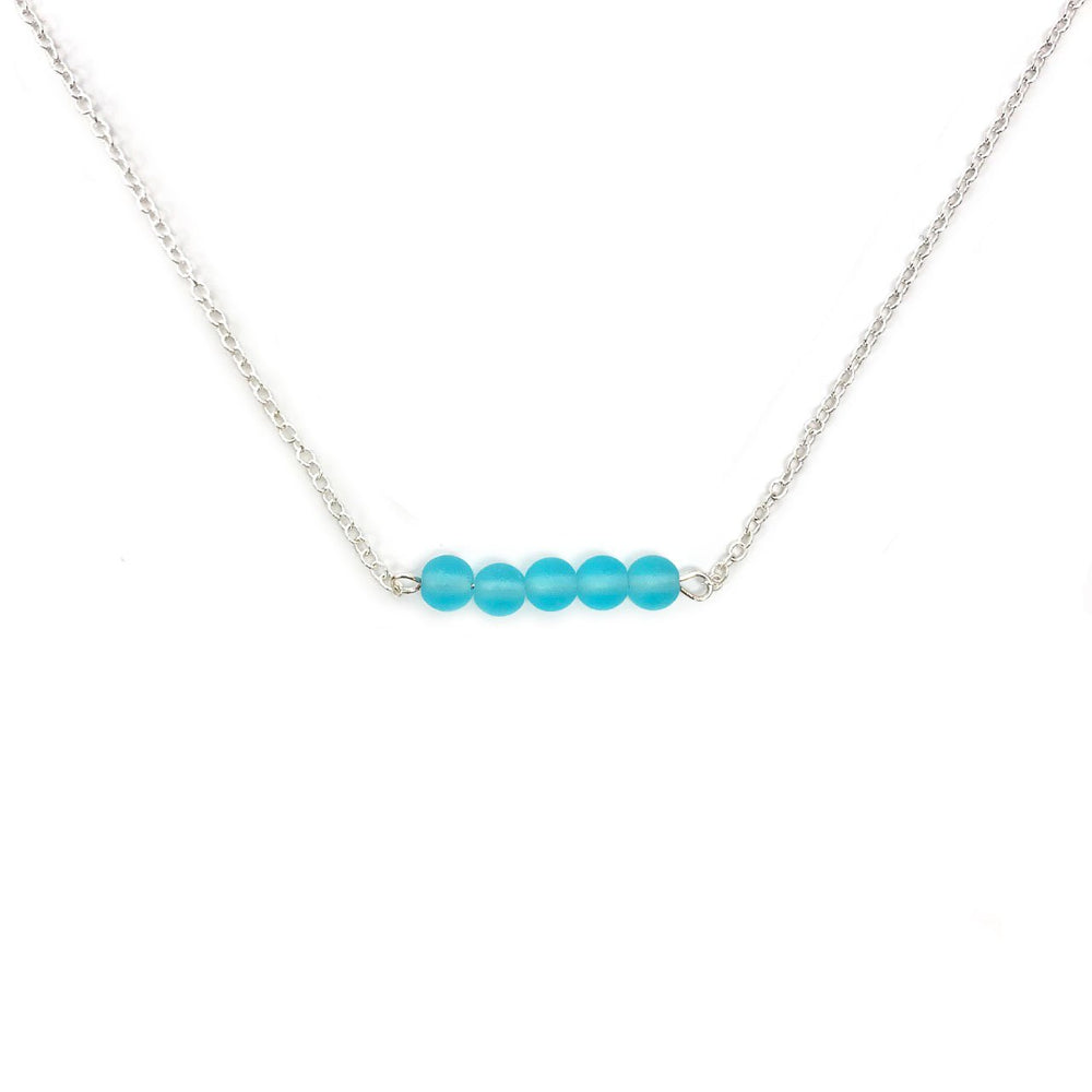 Seaglass Bar Necklace in Aqua
