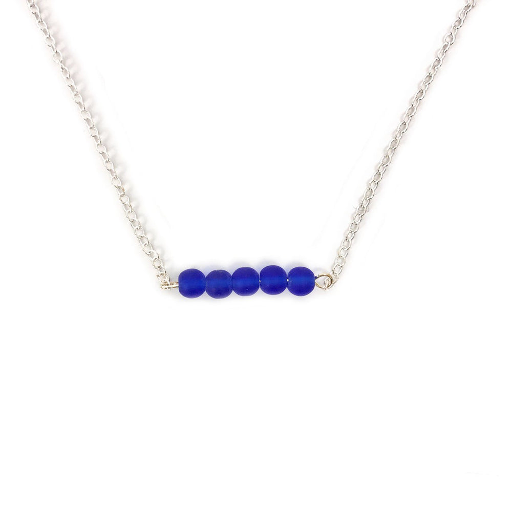 Seaglass Bar Necklace in Cobalt