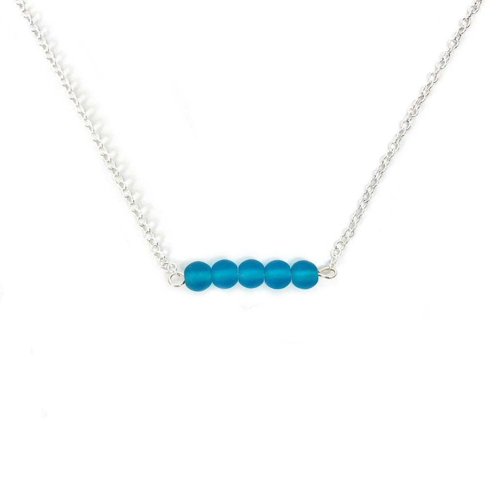 Seaglass Bar Necklace in Teal