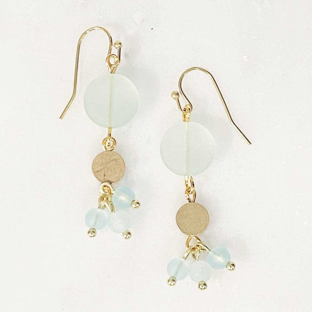 Load image into Gallery viewer, Seaglass Beaded Dangle Earrings in Seafoam Beachdashery® Jewelry