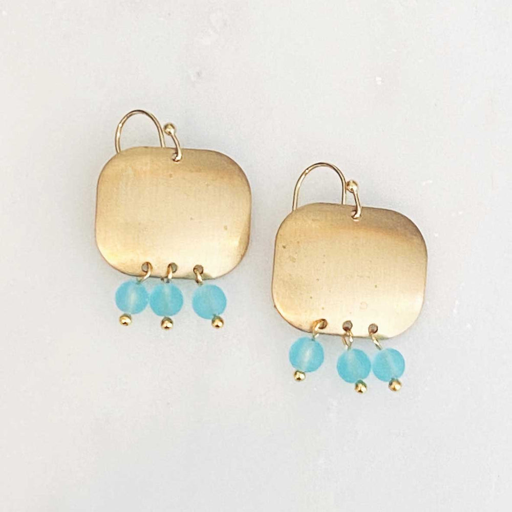 Load image into Gallery viewer, Seaglass Brass Disc Dangle Earrings in Aqua Beachdashery® Jewelry