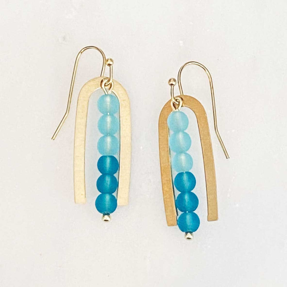 Load image into Gallery viewer, Seaglass Brass Long Arch Dangle Earrings in Aqua Beachdashery® Jewelry