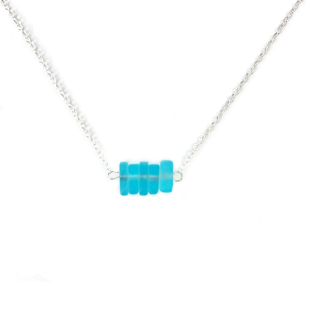 Load image into Gallery viewer, Seaglass Chip Bar Necklace in Aqua Beachdashery® Jewelry