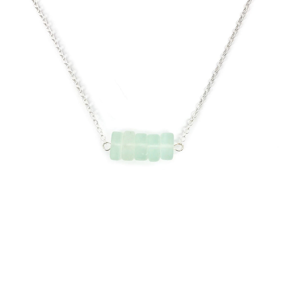 Seaglass Chip Bar Necklace in Seafoam Beachdashery® Jewelry