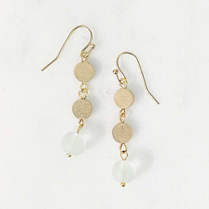 Load image into Gallery viewer, Seaglass Coin Dangle Earrings in Seafoam Beachdashery® Jewelry