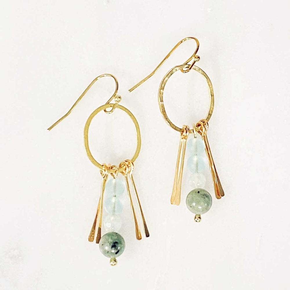 Load image into Gallery viewer, Seaglass Deco Dangle Earrings in Seafoam Beachdashery® Jewelry
