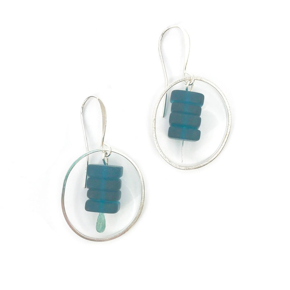 Load image into Gallery viewer, Seaglass Hoop Chip Earrings in Teal Beachdashery® Jewelry