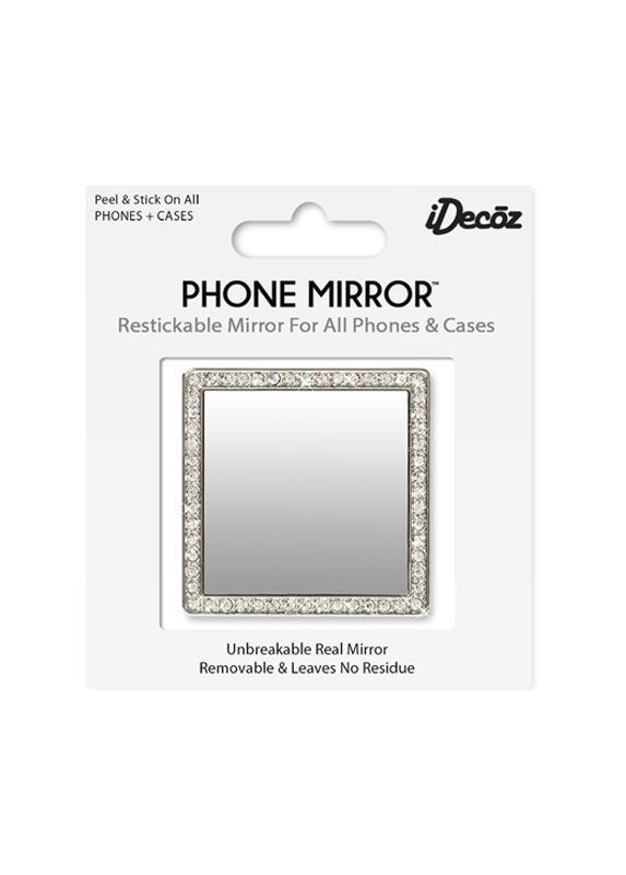 Silver Square with Crystals Phone Mirror Beachdashery® Jewelry