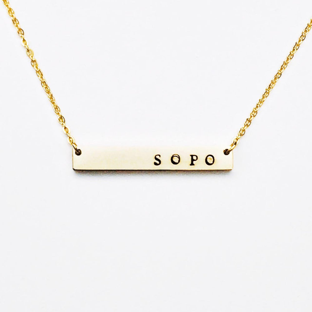 South Portland Maine Bar Necklace in Gold