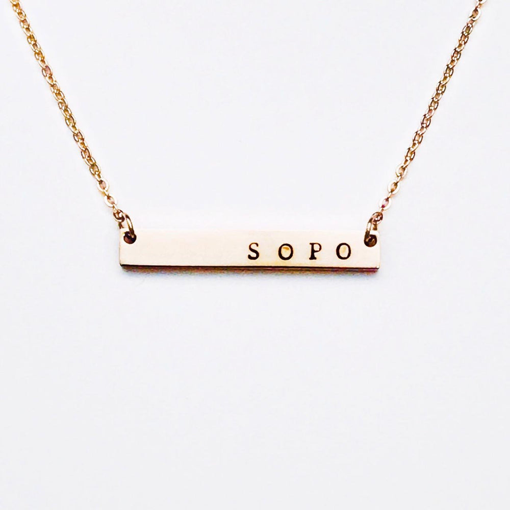 South Portland Maine Bar Necklace in Rose Gold